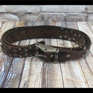 Affliction Live Fast studded grommet leather belt